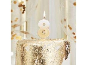 sviečka číslo osem ,,8,, gold rose