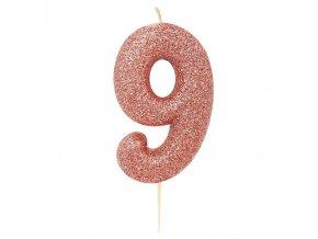Sviečka číslo ,,9,, Rose gold glitter