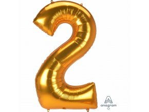fóliový balón číslo ,,2,, supershape 78x134cm zlatý