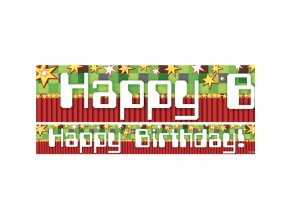 Banner Minecraft party Happy birthday