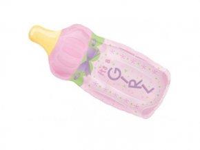 Fóliový balón fľaška ružová 33x79cm