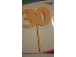 Dekorácia-Zápich číslo ,,30,, oranžový