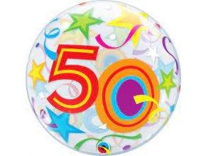 Fóliový balón Hviezdy číslo ,,50,, priesvitný 56cm
