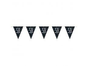 Banner-girlanda vlajková  čierny ,,50,, Silver Glit 2,74m