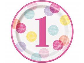 talerzyki papierowe first birthday rozowe grochy