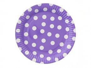 Tanier levanduľový s bielymi bodkami 23cm 6ks v balení