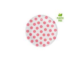 Tanier biely ružové bodky 18cm 6ks v balení