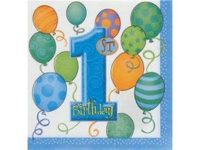 Servitky 1st Birthday modré 16ks v balení