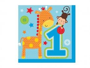 Servitky 1st Birthday modré Safari 16ks v balení