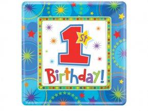 Taniere 1st Birthday modrý 8ks v balení