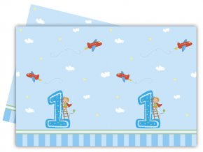 Obrus 1st Birthday modrý, 120x180cm
