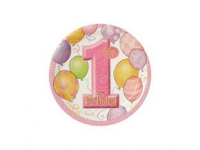 Tanier 1st Birthday ružový 8ks v balení