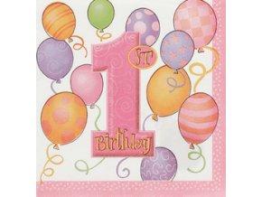 Servitky 1st Birthday ružové 16ks v balení