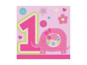 Servitky 1st Birthday ruzové 16ks v balení