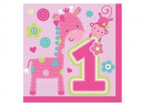 Servitky 1st Birthday ružové Safari 16ks v balení