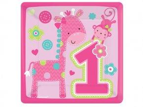 Tanier 1st Birthday ružové Safari 8ks v balení