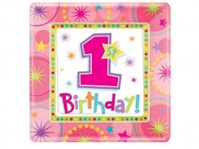 Taniere 1st Birthday ružový 8ks v balení