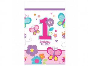 Obrus 1st Birthday ružový 137x259cm