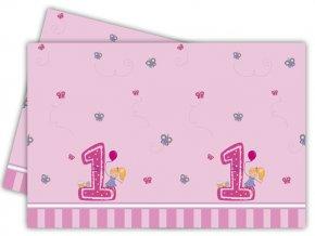 Obrus 1st Birthday ružový 120x180cm