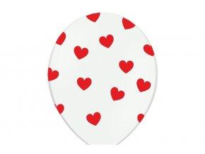 Balóny biele Srdce cervene 6ks v balení