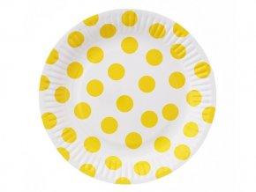 Tanier biely so žltými bodkami 18cm 6ks v balení