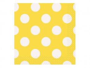 Servítky žlté s bielymi bodkami 25,4x25,4cm 16ks v balení
