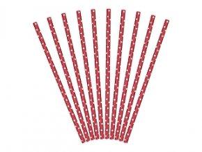 Slamky červené s bielymi bodkami 10ks v balení
