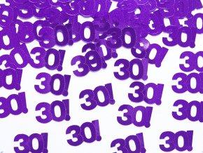 Konfety s číslom ,,30,, party fialove 15g