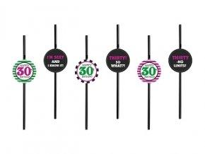 Slamky čierne s číslom ,,30,, farebné kružky 6ks v balení