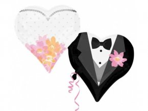 Fóliový balón Srdce-svadba