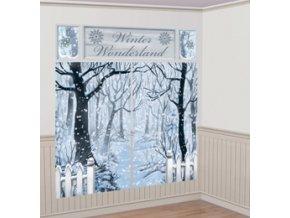 Dekorácia na stenu - zasnežená zimná krajina