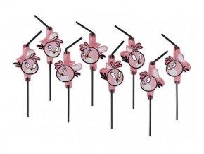 Slamky Angry Birds ružové, 8ks v balení