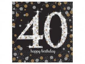 """Servitky Happy Birthday Gold """"40""""  6"""