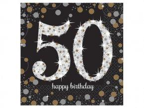 """Servitky Happy Birthday Gold """"50"""""""