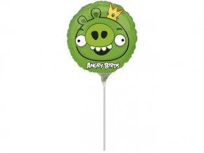 Fóliový balón Angry Birds zelený na paličke