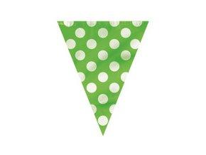 Vlajková girlanda zelená s bielymi bodkami 3,65m