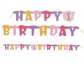 Banner 1st Happy Birthday ružový 120cm