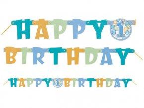 Banner 1st Happy Birthday modrý 120cm