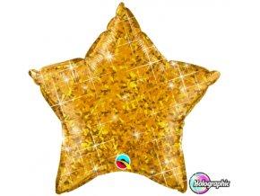 Fóliový balón Hviezda trblietky zlatá