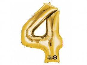 Fóliový balón číslo ,,4,, zlatá 86cm