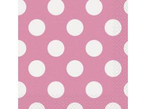 Servitky Hot pink s bielymi bodkami 25,4x25,4cm 16ks v balení