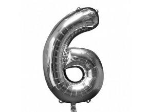 Fóliový balón 6 strieborná 86cm