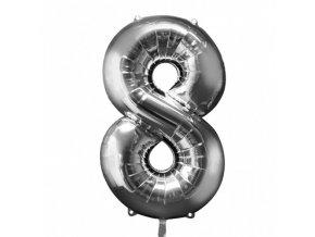 Fóliový balón číslo ,,8,, Strieborný 86cm