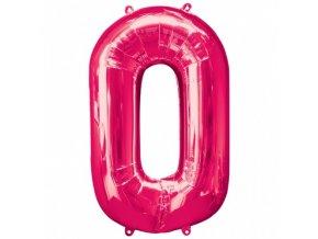 Fóliový balón čislo ,,0,, Ružový hot pink 86cm