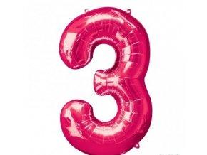 Fóliový balón 3 ružová 86cm