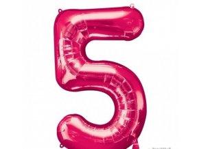 Fóliový balón 5 ružová 86cm