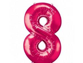 Fóliový balón číslo ,,8,, Ružový hot pink 86cm