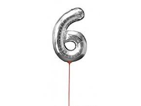 Fóliový balón číslo ,,6,, Strieborný na paličke 30cm
