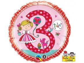 Fóliový balón s číslom 3 ružový 46cm