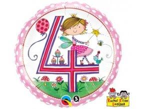 Fóliový balón s číslom 4 ružový 46cm